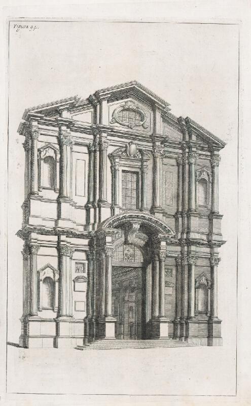 Andrea Pozzo, Giacomo Böemo Komarek – Fig.94. - Fasáda v perspektíve toho istého kostola ako aj prierez v perspektíve