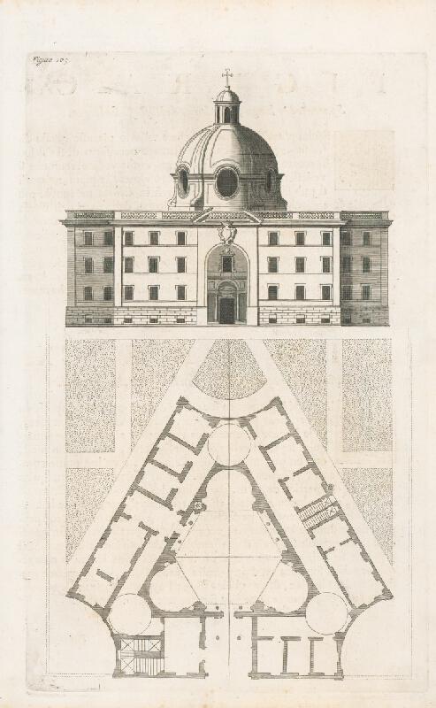 Andrea Pozzo, Giacomo Böemo Komarek - Fig.109. - Projekt a vonkajšia výška stavby jedného Collegia