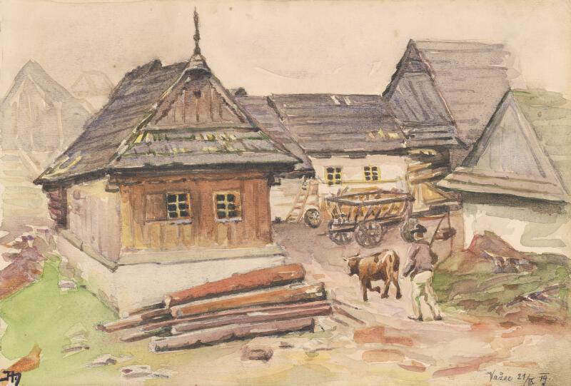Jaroslav Augusta – Náčrt dvora chalupy vo Važci