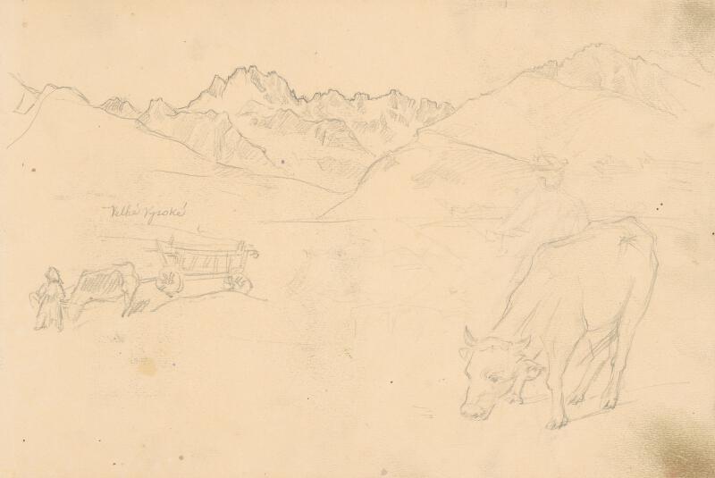 Jaroslav Augusta – Náčrt krajiny s pasúcou sa kravou v popredí
