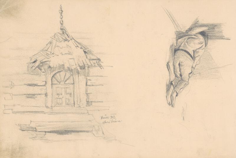Jaroslav Augusta – Náčrt starej brány vo Važci a ležiacej mužskej figúry
