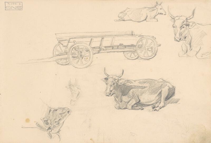 Jaroslav Augusta – Náčrt krajiny s ľudovou architektúrou, kravy a dvoch figúr