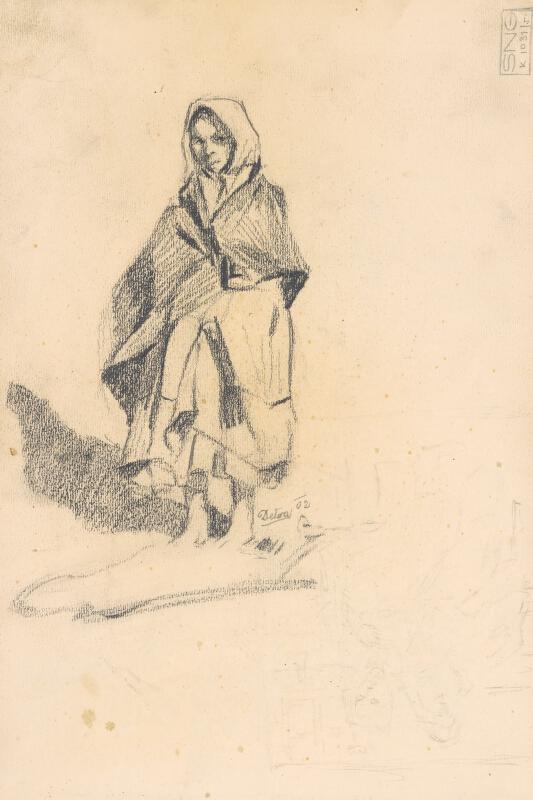 Jaroslav Augusta – Náčrt dievčiny v ľudovom odeve