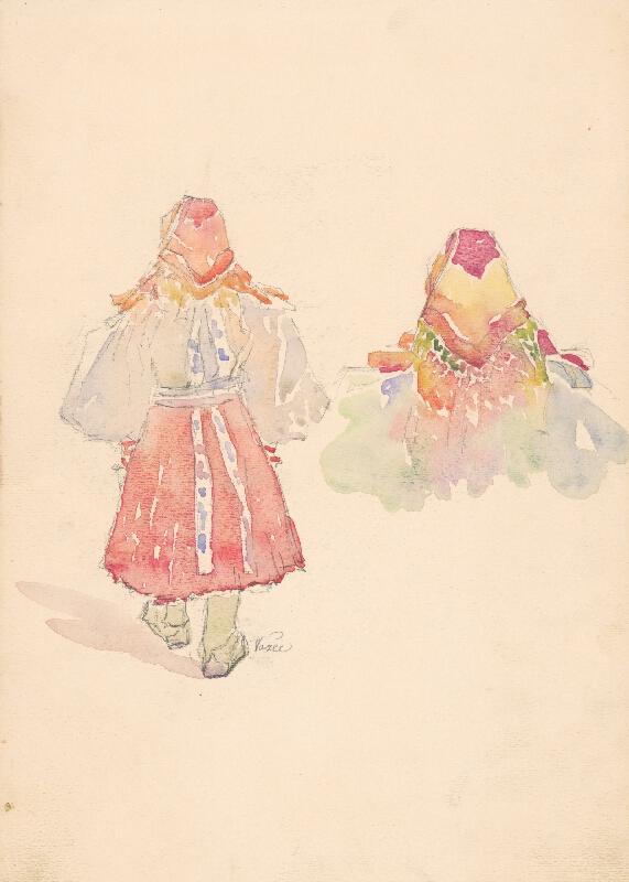 Jaroslav Augusta – Dva náčrty dievčiny v ľudovom odeve