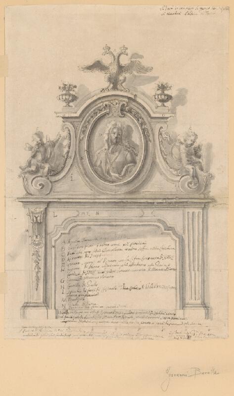 Giovanni di Isidoro Baratta - Návrh čelnej strany kozuba s písomnou špecifikáciou