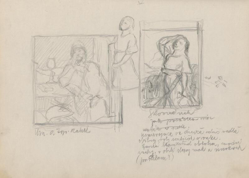 Štefan Polkoráb – Náčrtník s figur. štúdiami - Ženy v krojoch
