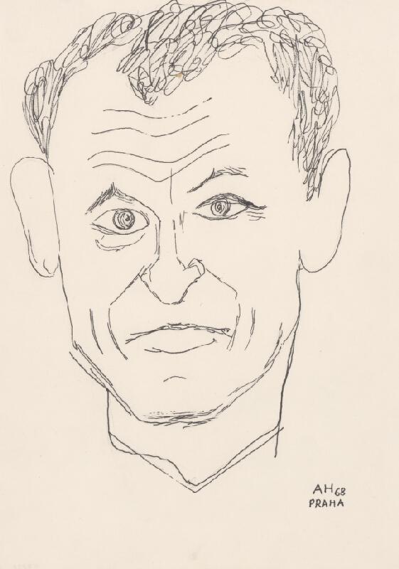 Adolf Hoffmeister - Karikatúrny portrét Petra Karvaša I.