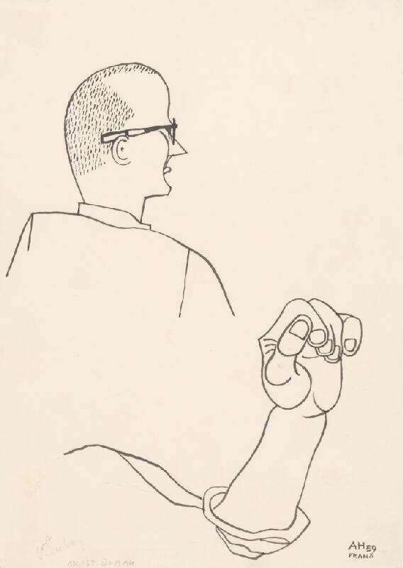 Adolf Hoffmeister - Karikatúrny portrét O. Dubaya