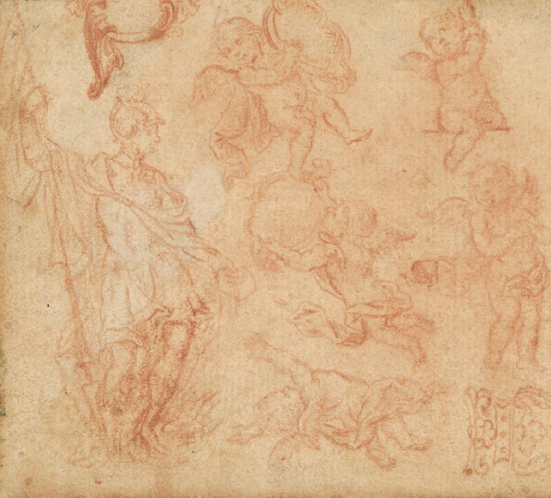 Český maliar z 18. storočia - Skica vojaka a anjelíkov