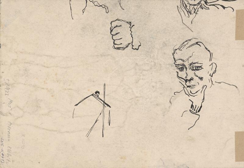 Arnold Peter Weisz-Kubínčan - Náčrt hlavy a ruky