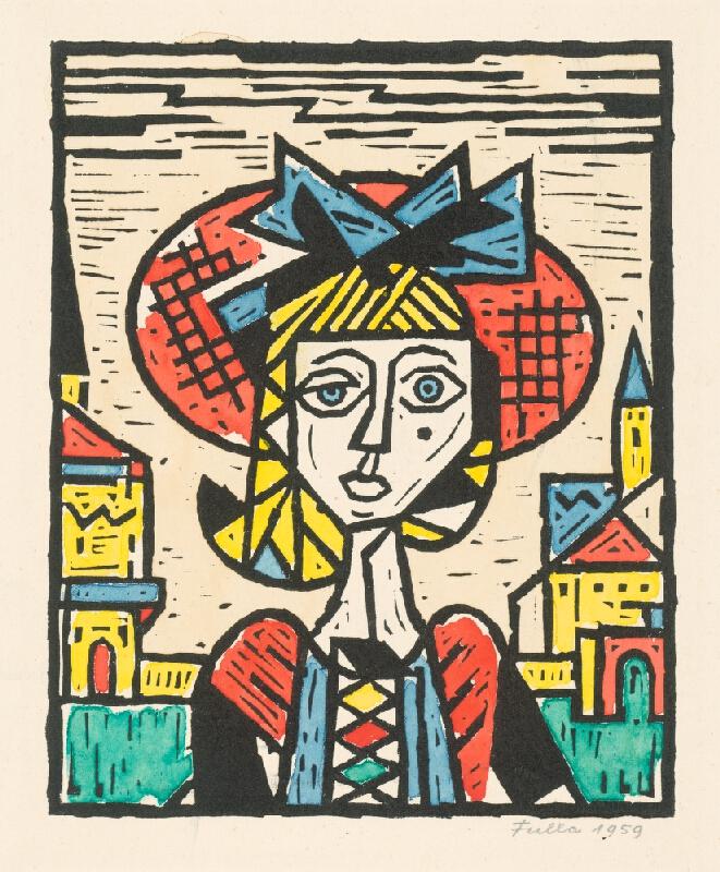 Ľudovít Fulla - Dievča v klobúku