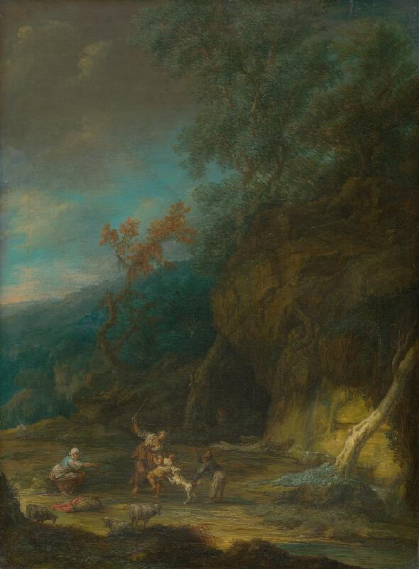 Nemecký maliar z 1. polovice 18. storočia - Romantická krajina s figurálnym výjavom