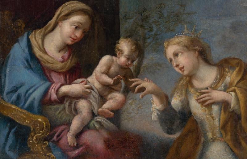 Taliansky maliar z 18. storočia - Zasnúbenie sv. Kataríny