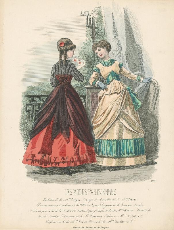 *, Francois Claudius Compte-Calix, Atelier Lacouriere - List z módneho časopisu Les Modes Parisiennes. Návrhy šiat Mon.Piefforta