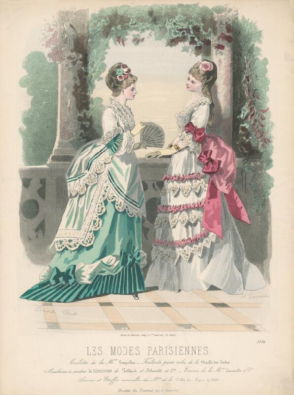 Francois Claudius Compte-Calix, A. Carrache - List z módneho časopisu Les Modes Parisiennes. Slávnostné šaty od Mon.Gagelina