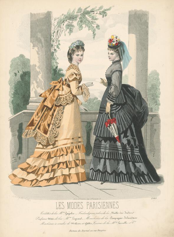 Francois Claudius Compte-Calix, A. Carrache - List z módneho časopisu Les Modes Parisiennes. Poobedňajšie toalety od Mm.Gagelina