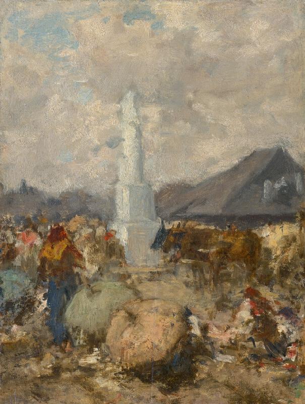 August von Pettenkofen - Na trhu pri stĺpe svätej Trojice v Szolnoku