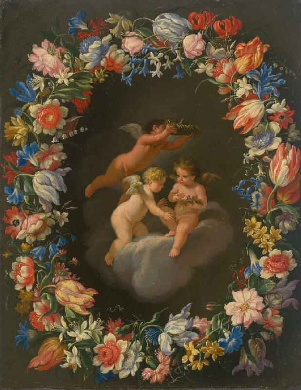 Český maliar z konca 18. storočia - Anjelíci v kvetinovom venci I.