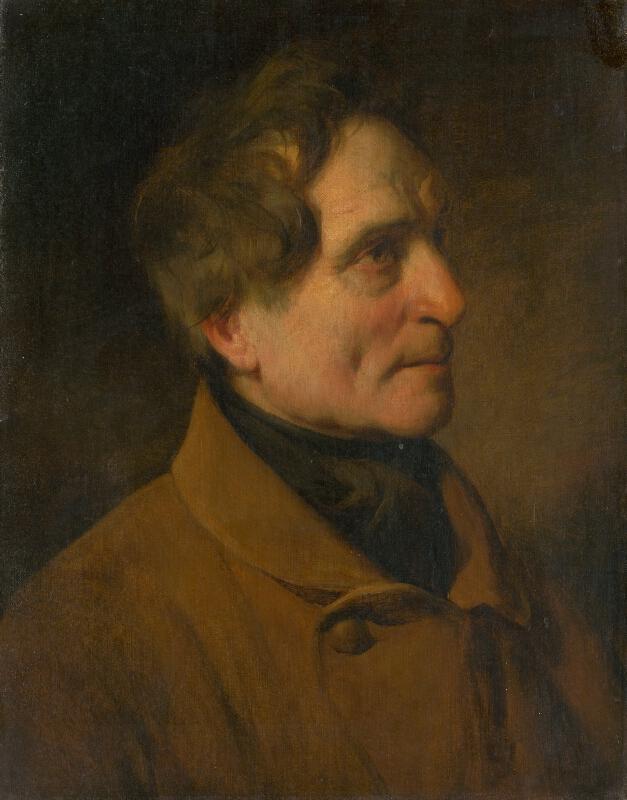 Nemecký maliar z roku 1852 - Podobizeň muža v hnedom kabáte