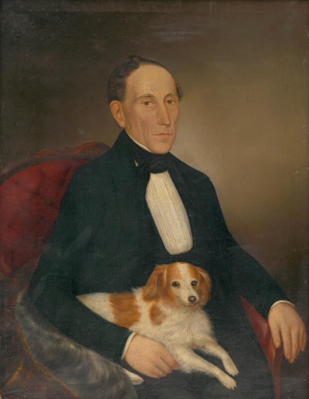 Palinka - Podobizeň sediaceho muža so psom