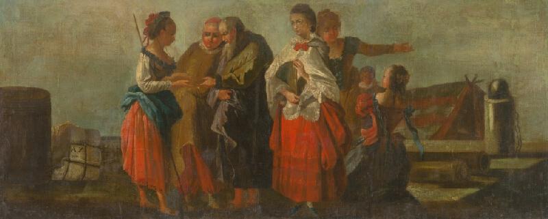 Taliansky maliar z 18. storočia - Lúčenie v prístave