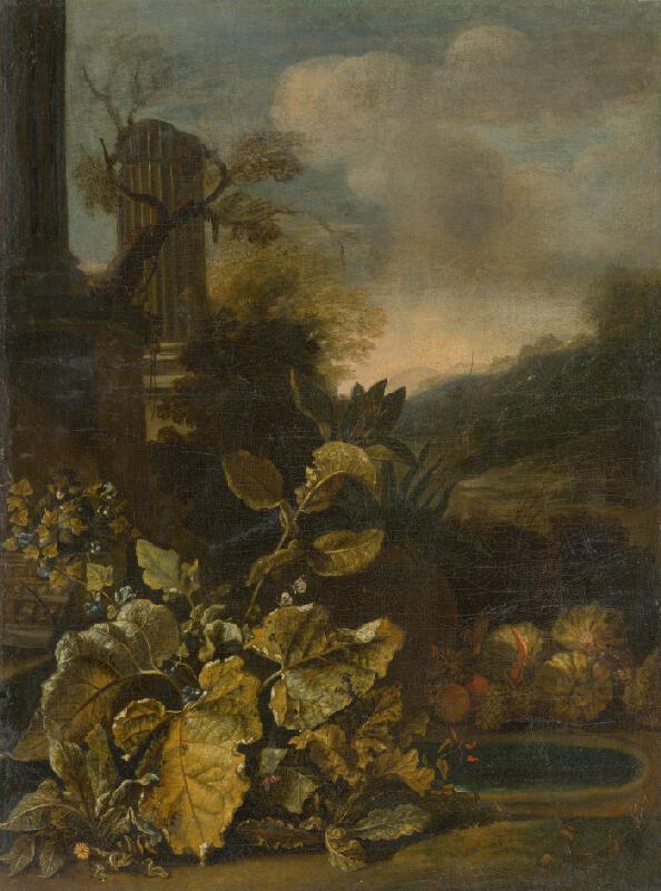 Talianský maliar zo začiatku 18. storočia - Romantická krajina so zátiším a s antickým stĺpom