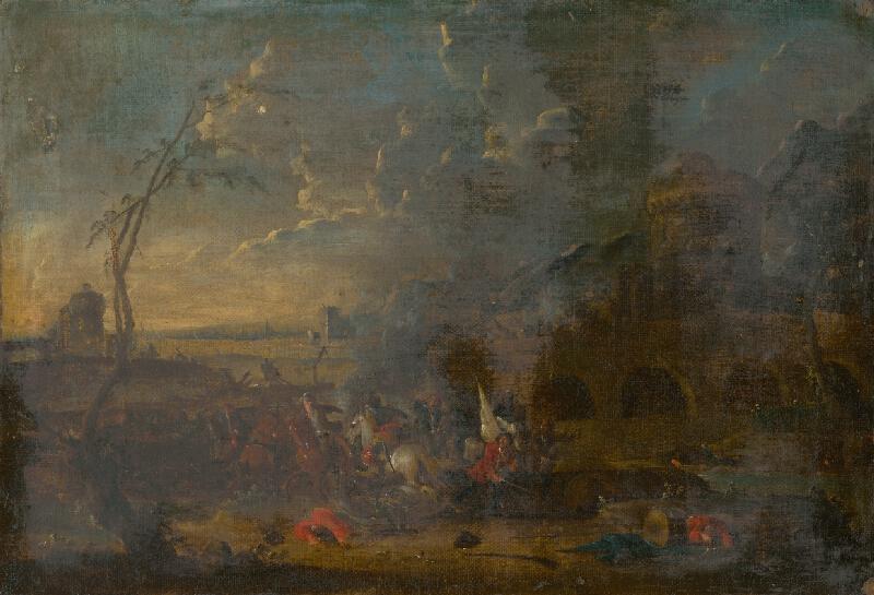 Západoeurópsky maliar z 18. storočia - Jazdecká bitka