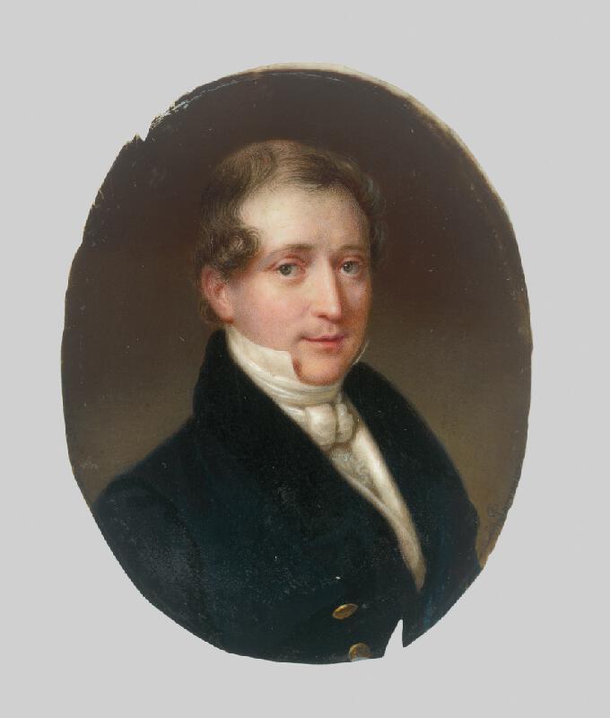 Stredoeurópsky maliar zo začiatku 19. storočia - Portrét muža v modrom žakete