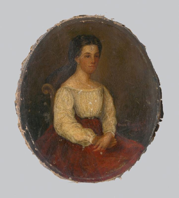 Anna Zmeškalová - Portrét ženy v bielom živôtiku a červenej sukni