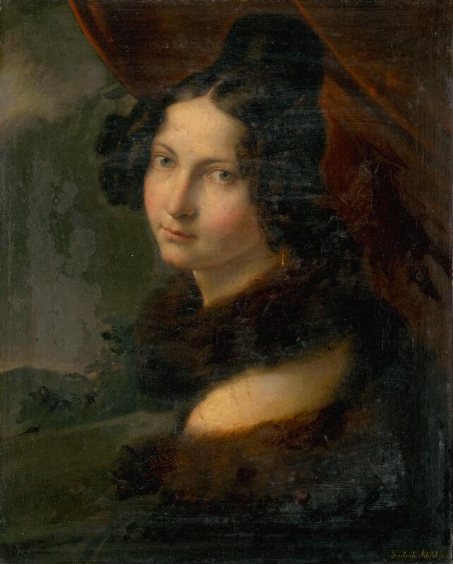 Friedrich Schilcher - Podobizeň mladej dámy v kožušinovom nákrčníku
