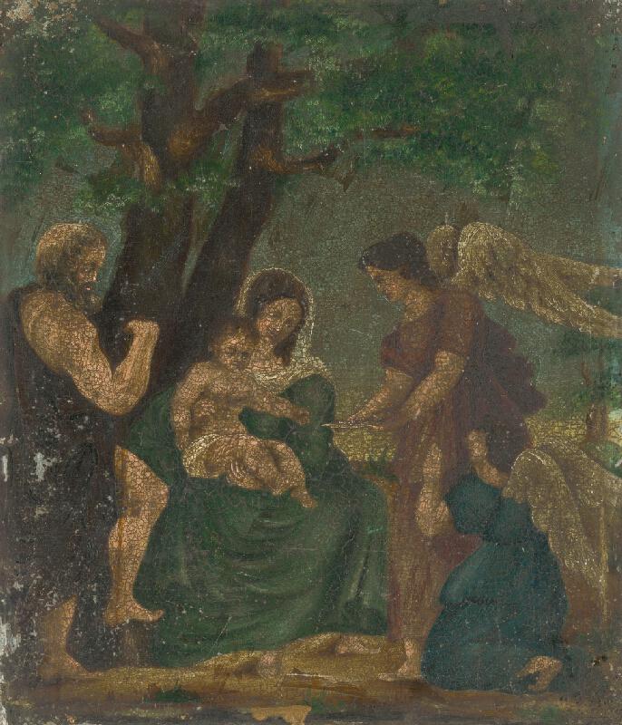 Západoeurópsky maliar z 2. tretiny 17. storočia - Mária s dieťaťom medzi anjelmi a sv.Jánom Krstiteľom