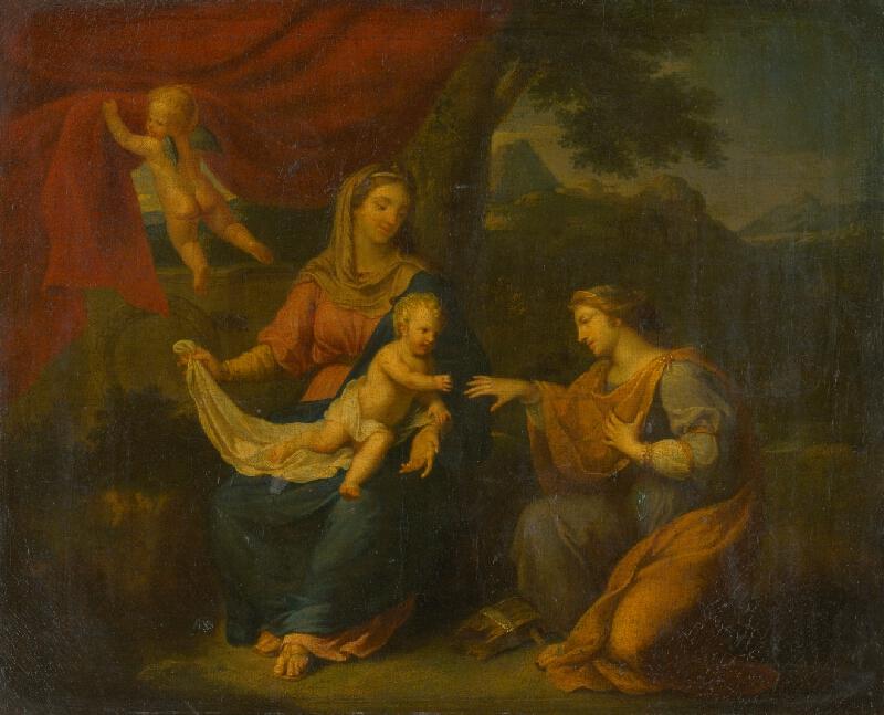 Nemecký maliar z konca 18. storočia - Sediaca Madona so sv.Katarínou