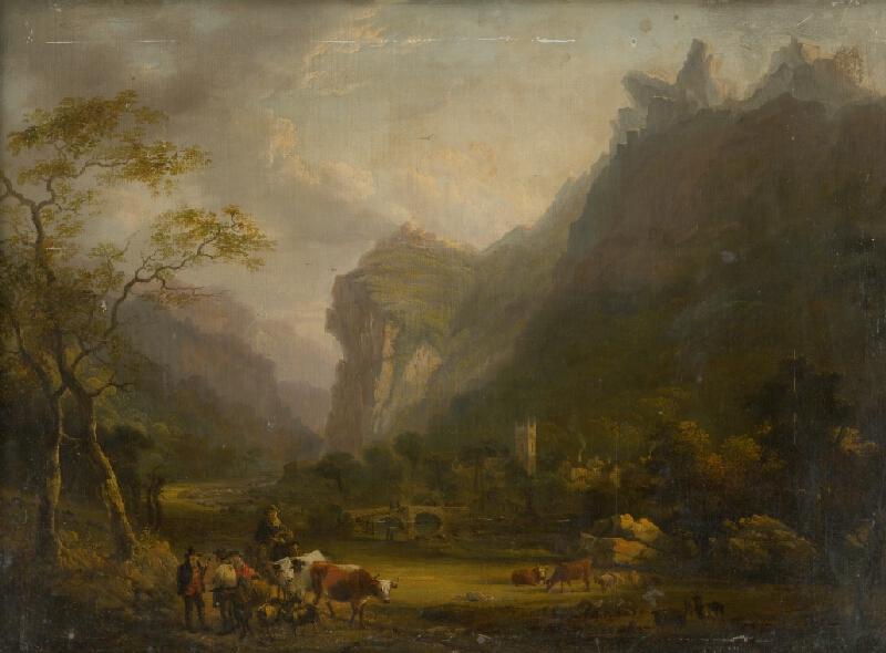 Stredoeurópsky maliar zo začiatku 19. storočia - Horské údolie s figurálnou skupinou v popredí