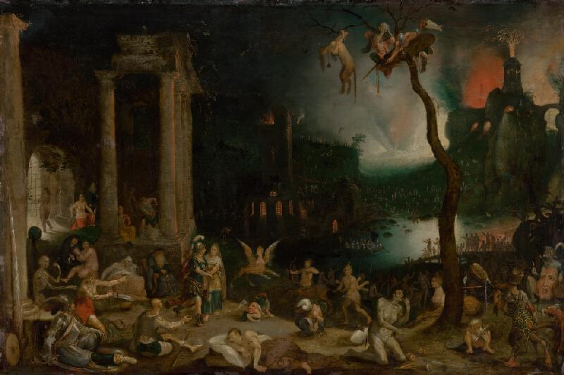 Jan Brueghel st. - Aeneas a Sibyla kúmska v podsvetí