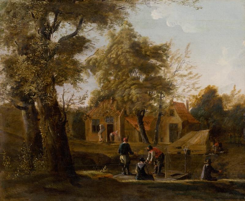 Holandský maliar zo začiatku 18. storočia - Rybári na rieke