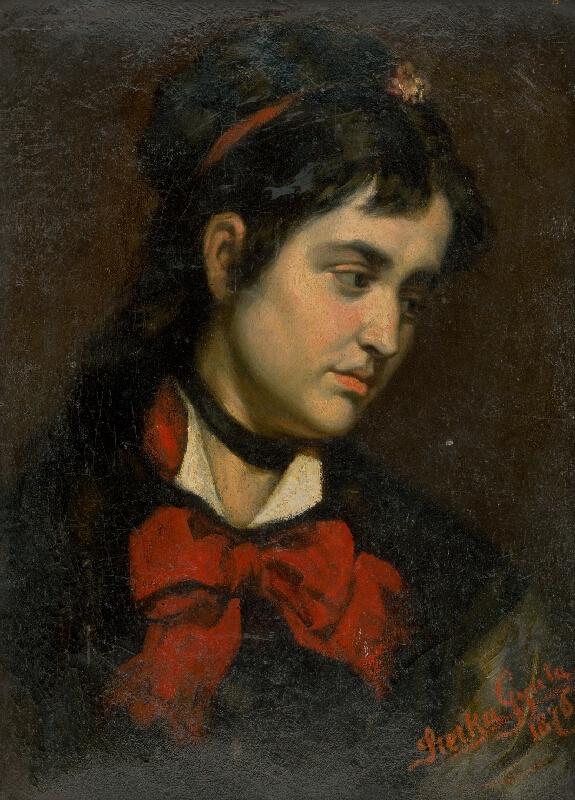 Július Štetka - Hlava dievčaťa s červenou šatkou
