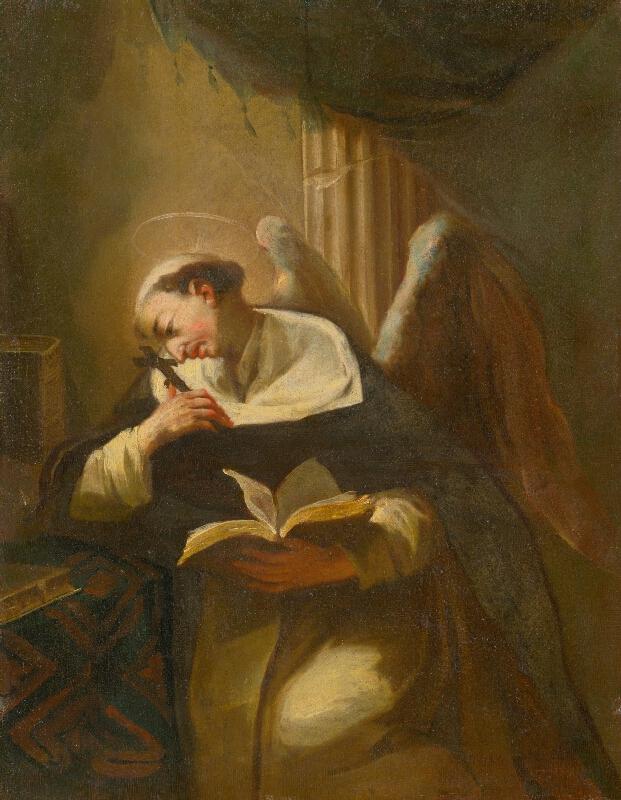 Stredoeurópsky - Slovenský - maliar z 2. polovice 18. storočia - Kľačiaci rozjímajúci svätec