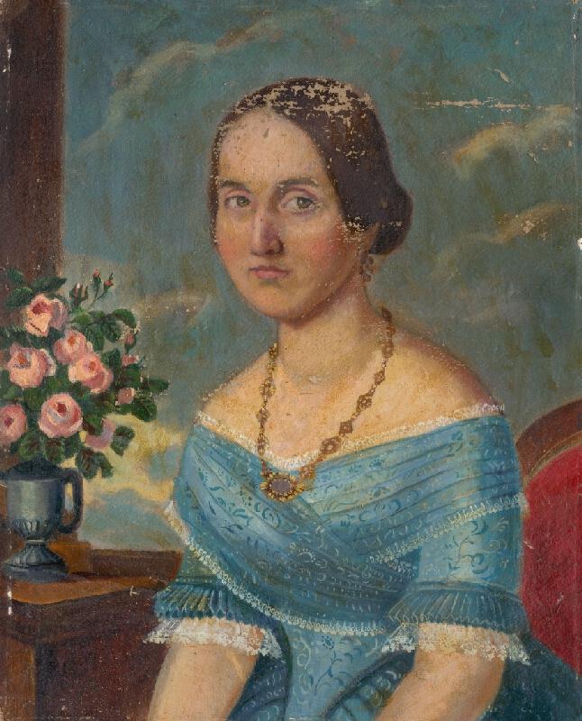 Slovenský maliar z polovice 19. storočia - Portrét dámy s retiazkou