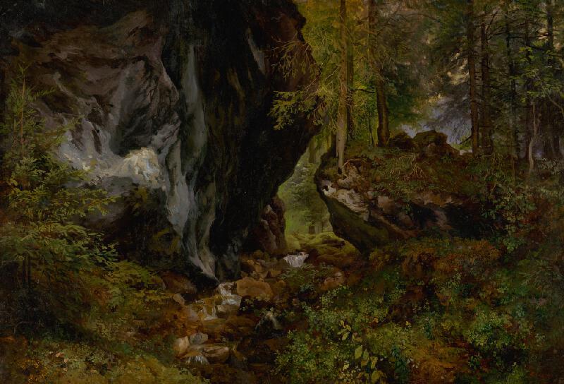 Alexander Brodszky - Vnútro lesa so skalami