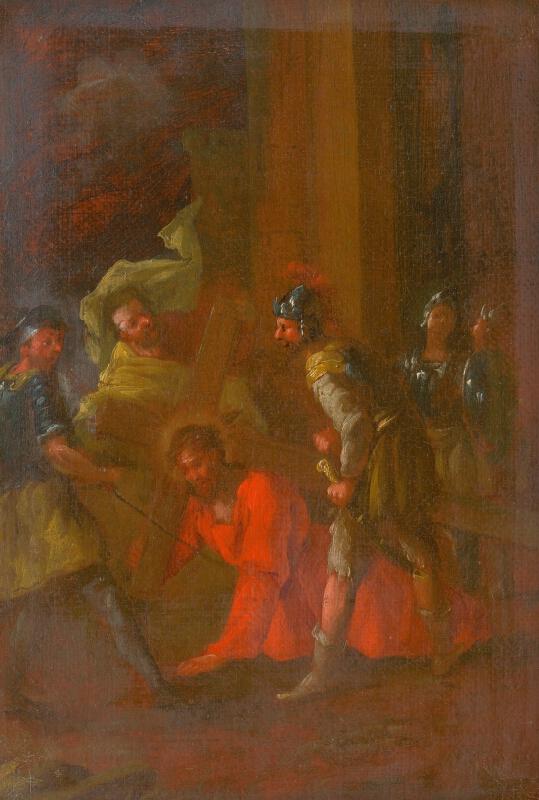 Slovenský maliar z 3. tretiny 18. storočia, Štefan Schaller - Ježiš padá prvý raz pod krížom. Štúdia ku Krížovej ceste III.