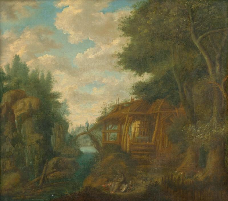 Nemecký maliar z konca 17. storočia - Krajina s chyžou