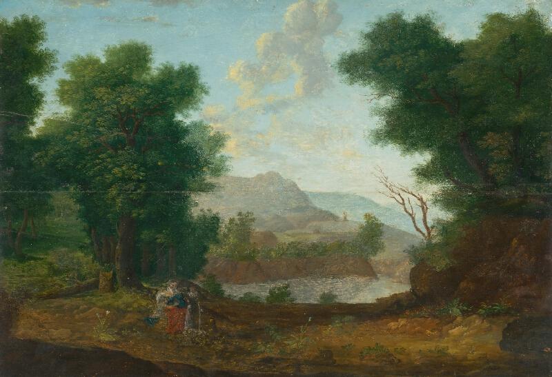 Západoeurópsky monogramista W.P. z roku 1620 - Horská krajina s rybníkom