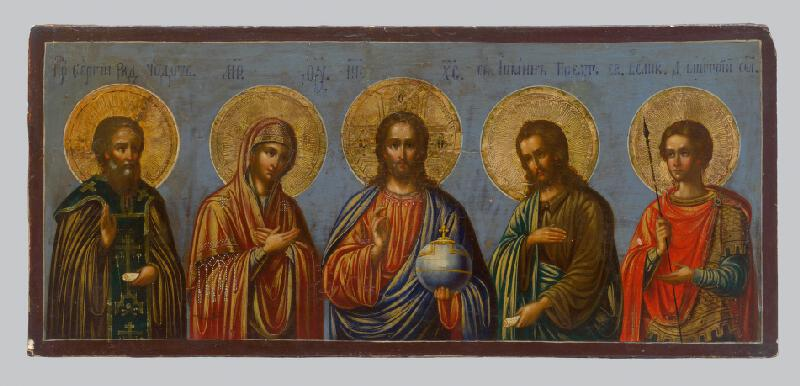 Ruský ikonopisec - Spasiteľ medzi Bohorodičkou, sv.Jánom, Sergejom a Michalom archanjelom