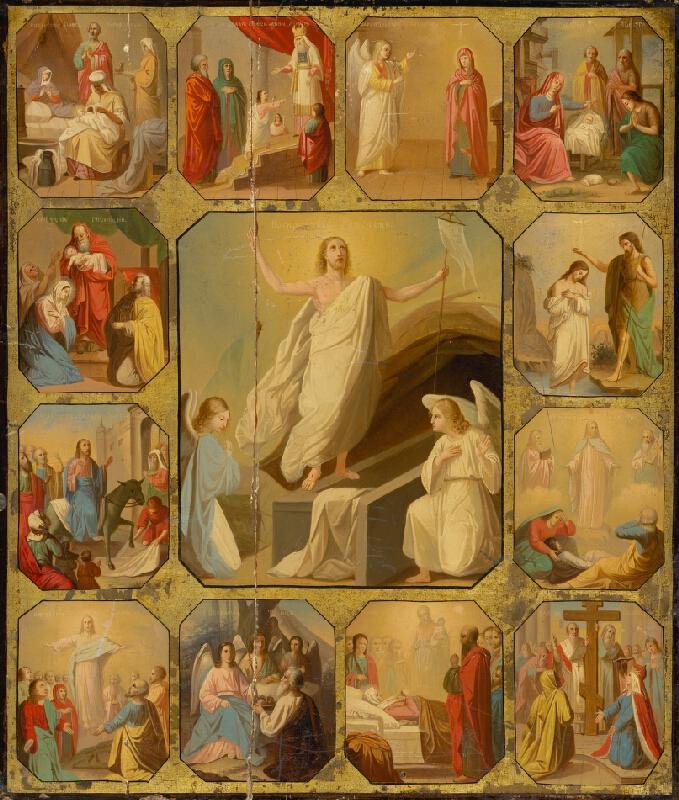 Ruský ikonopisec - Zmŕtvychvstanie Krista a 14 vyobrazení po okraji zo života Krista a Panny Márie