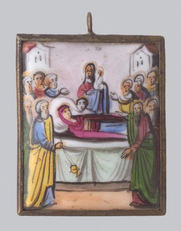 Ruský emailér - miniaturista z 19. storočia - Medailón Smrť Panny Márie - prívesok