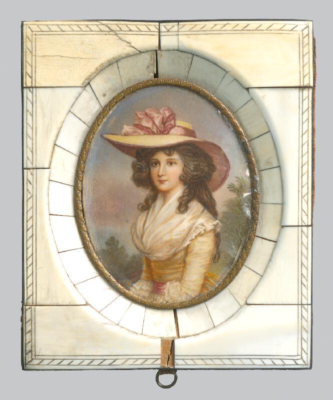 Stredoeurópsky maliar miniatúr z 18. storočia - Mladá dáma v klobúku