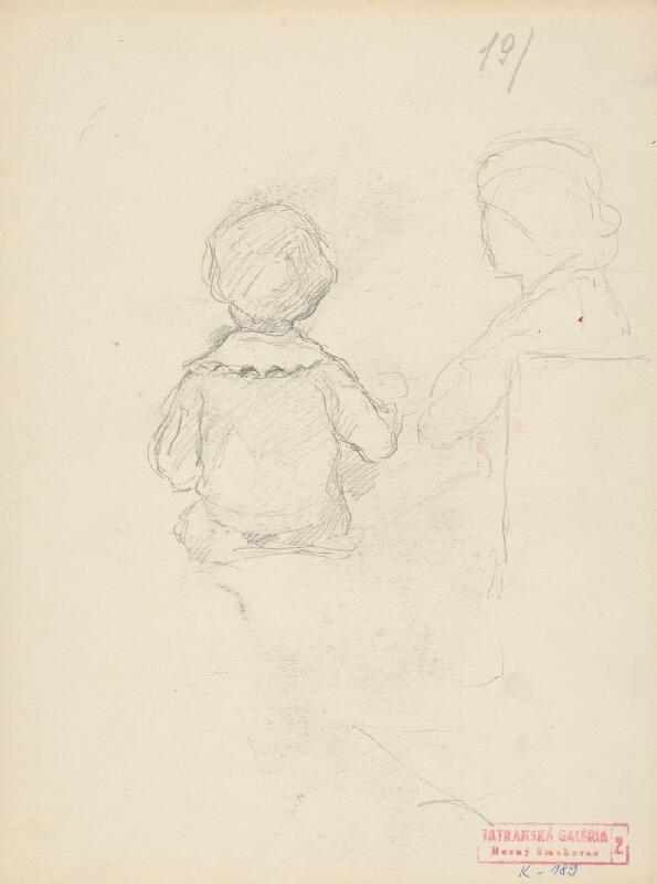 Andor Borúth - Dieťa s učiteľkou pri klavíri