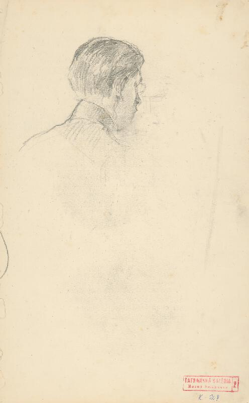 Andor Borúth - Hlava muža s okuliarmi odzadu