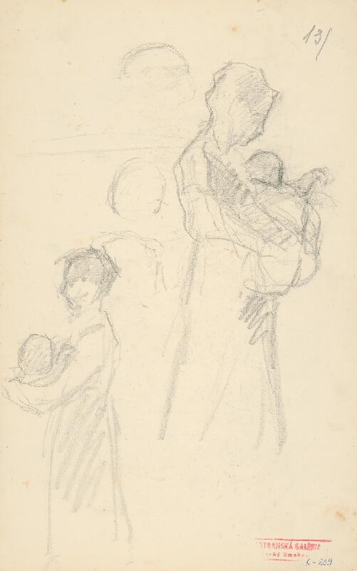 Andor Borúth - Náčrty postavy matky s dieťaťom na rukách