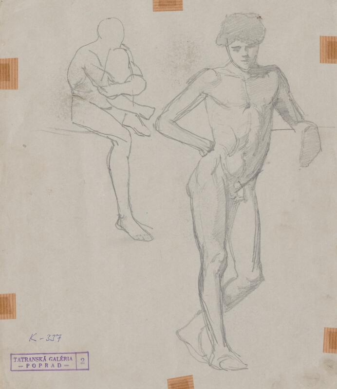 Ferdinand Katona – Ľavou rukou podopretá chlapčenská postava,portrét chlapca